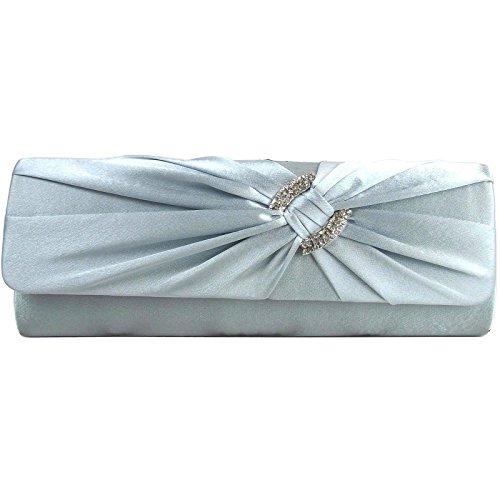 Zarla - Borsetta da signora, con chiusura a scatto, pochette di raso portabile a tracolla, borsetta da sera ideale per feste nuziali Argento (argento)