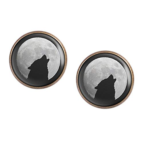 Mylery Ohrstecker Paar mit Motiv Wolf Heult Mond Silhouette Sterne bronze 16mm -