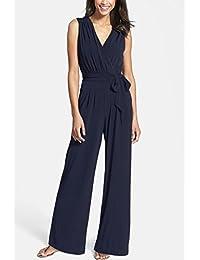 Hoverwings Femme Combinaison Pantalon Chic Bustier Bleu Grande Taille Longue  Bretelles Combinaison Pantalon Noir Large Dos 9d72d2669d9