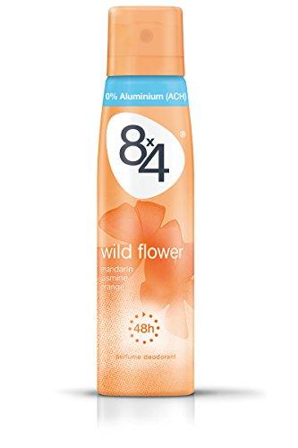 8x4 Deo Wild Flower Spray, ohne Aluminium,6er Pack (6 x 150 ml)