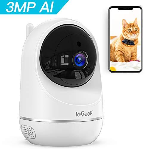 ieGeek 3MP Telecamera WiFi interno, Videocamera IP Sorveglianza wifi, Videocamera per Animali Domestici e per Bambini, AI Rilevamento Umanoide, Visione Notturna, Supporto Alexa