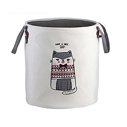 Storage barrels HKFV Tier Canvas Blätter Spielzeug Aufbewahrungstasche Wäsche Wäschekorb Falten Aufbewahrungsbox Schmutzige Kleidung spielt Kleinwarenspeicherkorb-Speichereimer (B) (Großhandel Schuhe Canvas)
