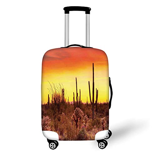 Travel Luggage Cover Suitcase Protector,Saguaro Cactus Decor,Eve Sky in Barren Land with Cactus and Odd Weeds All Around The Dry Earth Photo,Red Yellow,for TravelXL 29.9x39.7Inch