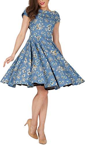 BlackButterfly 'Serena' Vintage Eden Kleid im 50er-Jahre-Stil (Denim, EUR 50 – 4XL) - 4