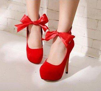 WZG Nouvelles chaussures ronde peu profonde bouche ruban arc en daim fines imperméables chaussures à talons hauts Red