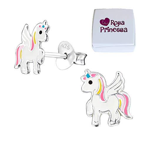 Magical Niños Pendientes Unicornio Plata