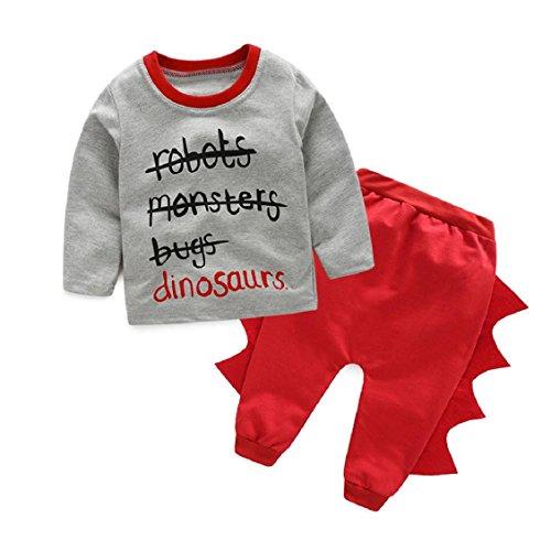 Overdose 1Stellen Kinder Baby Jungen Brief-Druck-T-Shirts Tops + Dinosaurier Hosen Outfits Kleidung (6-24Monate) (70(6-9M), (Paket Gesamt Kostüm)