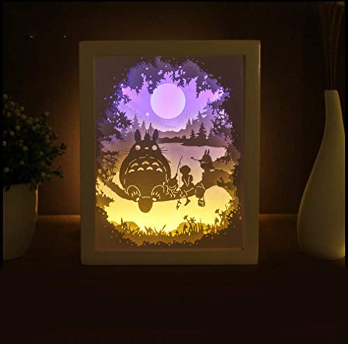 Quadrat Papier Schatten (Licht und Schatten Papier schnitzen Lampe DIY handgefertigte Falten Papier geschnitten Totoro Tischlampe romantische Nachtlicht)