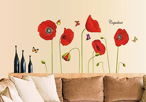 Fiori di papaveri farfalle fiori rossi adesivi cucina decorazione asilo nido decalcomania decalcomanie casa arredamento elegante moderno fiori vita camera da letto decorazione
