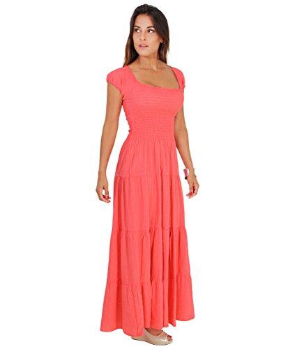9263-COR-12: KRISP Damen Boho Maxi Kleid Einfarbig Bodenlang (Koralle, Gr.40)