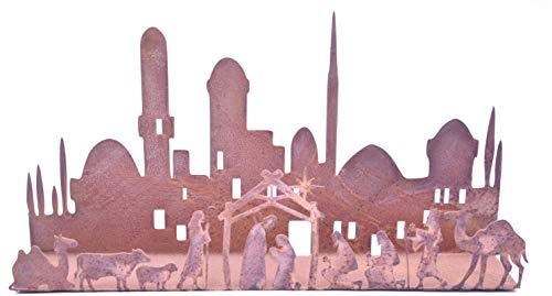 Rostikal | Kerzenhalter/Advent Kerzenständer Weihnachtsdeko in Edelrost, Weihnachtskrippe Metall Rost Tischdeko Fensterdeko