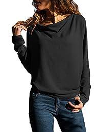 Dokotoo Femme Casual Pull Manches Longues Slim T Shirt Elégante Couleur Unie S-XXL