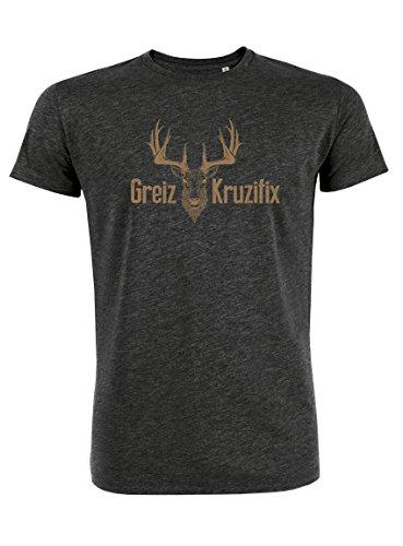 Datschi Trachten T-shirt Greiz Kruzifix, Bio Baumwolle, Trachtenshirt Oktoberfest Bayrisch (M, (Herren Shirt Trachten T)