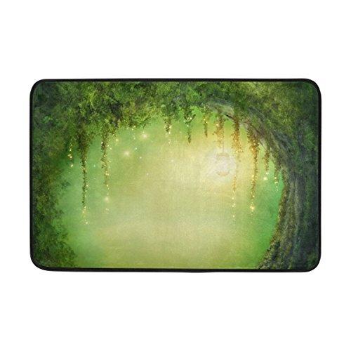 JSTEL Enchanted Forest-Fußmatte waschbar Garten Büro Fußmatte, Küche ESS-Living Badezimmer Pet Eintrag Teppiche mit Rutschfeste Unterseite 59,9x 39,9cm