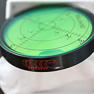 Metal Large Spirit Bubble Level (Green) 60mm Diameter, Degrees, Circular, Surface Level - Metal Housing, Bulls Eye Bullseye Vial Round (supplied in a gift box)