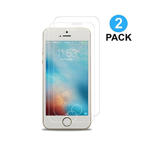 Vetro Temperato iPhone 5 5C 5S SE [2 Pezzi] Hi-Luck Premium 0.25mm Ultra Clear Pellicola Protettiva per iPhone 5 5C 5S SE Proteggi Schermo [9H, Anti-graffio, Anti-olio]