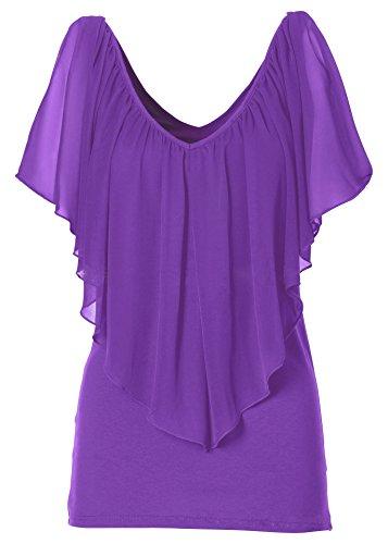 ACVIP Femme T-shirt avec Col V Mousseline de Soie Top Casual Violet