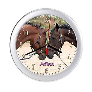 Wanduhr Pferd Pferde Kinderzimmer Uhr mit Namen Mädchen personalisiert