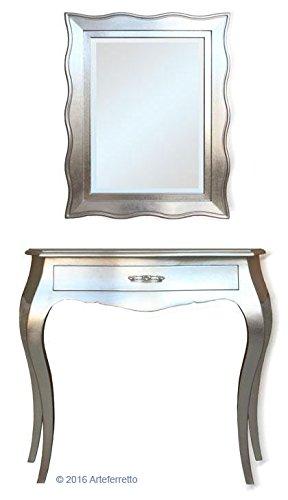 Artigiani Veneti Riuniti Konsolentisch + Spiegel aus Holz in Silberblatt, 2 Möbelstücke für Einrichtung klassisch modern aus Italien, MONTIERT