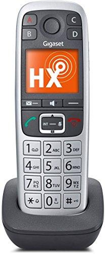Gigaset E560HX Telefon - Schnurlostelefon / Universal Mobilteil - Grosse Tasten Telefon - mit SOS Taste - Dect-Telefon - für Router - platin