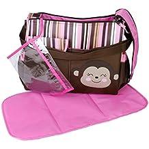 Pixnor multifuncional gran capacidad bebé pañal pañales cambiando almohadilla viaje momia bolso bandolera bandolera Messenger bolso (rosa)