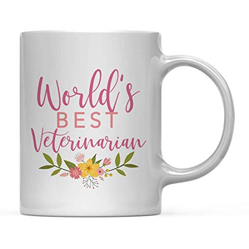 funny mugs 11oz. Coffee Mug Gag Gift, World's Best Veterinarian, Floral Flowers Design, 1-Pack, Birthday Christmas Gift Ideas for Her