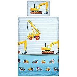 Aminata Kids Kinder-Bettwäsche 100-x-135 cm Bagger BAU-Fahrzeuge Auto-s Betonmischer Baby-Bettwäsche 100-% Baumwolle Renforce Bunte hell-blau Junge-n Baustelle