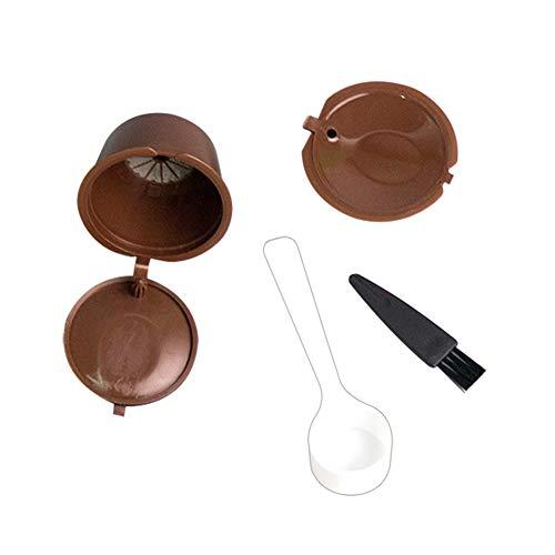 Demarkt Wiederbefüllbare Kaffeekapsel, 2 Stück Wiederverwendbarer Kaffeekapsel für K-Fee/Tchibo Cafissimo Machines mit 1 Plastiklöffel, 1 Reinigungsbürste