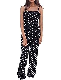 Damen Sommer Jumpsuit Lang Mode Clubwear Riemchen Punkt Gedruckte Playsuit  Bandage Bodysuit Party Overall 2cc73d6d5b