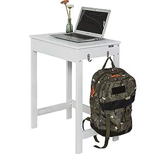 SoBuy Schreibtisch mit 1 Schublade und 2 Haken Computertisch mit Stuhl, weiß FWT43-W+FST06-W (Mit Stuhl)