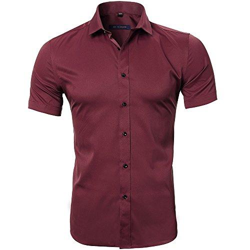 Camiseta Bambú Fibra Hombre, Manga Corta, Slim Fit, Camiseta Elástica Formal/Casual Para Hombre, Rojo, 39