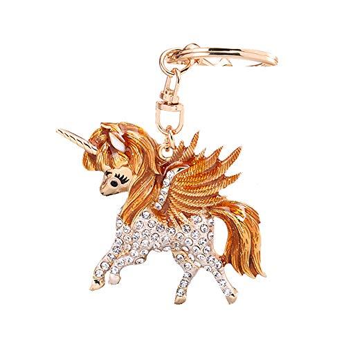 Chytaii. Süßer Einhorn Schlüsselanhänger Schlüsselanhänger Diamant Kristall Dekoration Geschenk für Mädchen Frauen Size 11cm (Orange) (Orange Diamant-ringe Für Frauen)