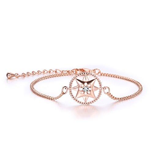 jdgemstone Damen Armband mit Swarovski-Elements-Kristall, Frauen-Armband, Roségold / Silber, verstellbar, mit Scharnier