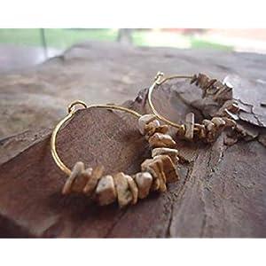 ★ GOLD & LANDSCHAFTSJASPIS ★ kleine Creolen Ohrringe mit Steinen