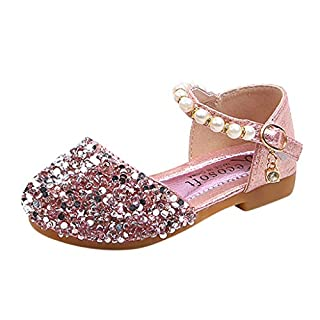 IGEMY_ Pearl Shoes Baby Girl, Toddler Infant Kids Baby Girls Pearl Bling Sequins Single Princess Shoes Sandals Pink