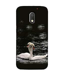 PrintVisa Designer Back Case Cover for Motorola Moto E3 :: Motorola Moto E (3rd Gen) (Duck Couple Black&White Emotion Sentiment)