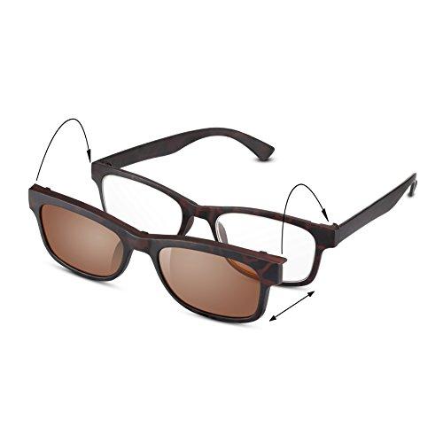 Read Optics 2-in-1 Lese- und Sonnenbrille: Dunkelbraune Schildpatt Lesehilfe im italienischen Stil für Damen/Herren in Stärke +3,0. Leicht und praktisch dank getöntem Clip-On UV-400 Sonnen-Aufsatz