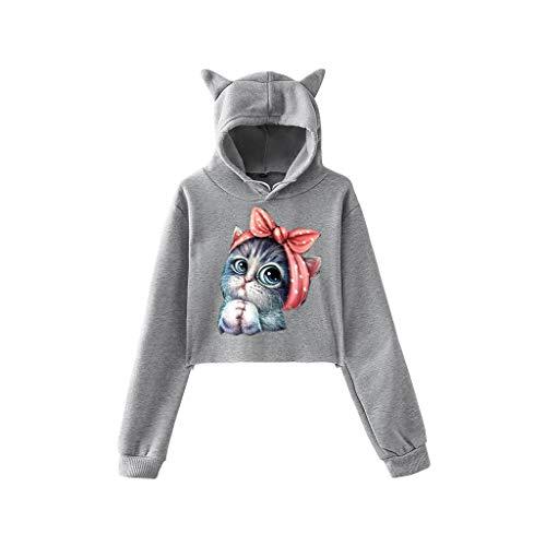 DOFENG Damen T Shirt Bluse Sweatshirt Damen Lange Ärmel Mode Locker Volltonfarbe 3D Katze Drucken Lässig O Hals Kurz Pullover Oberteil Tops (D-Grau, X-Small) -