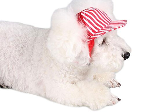 Crasy Shop Stripe Canvas Pet Dog Sun Hat Adjustable Sports Baseball Cap with Ear Holes for Puppy Dog Cat (S, Blue) 4