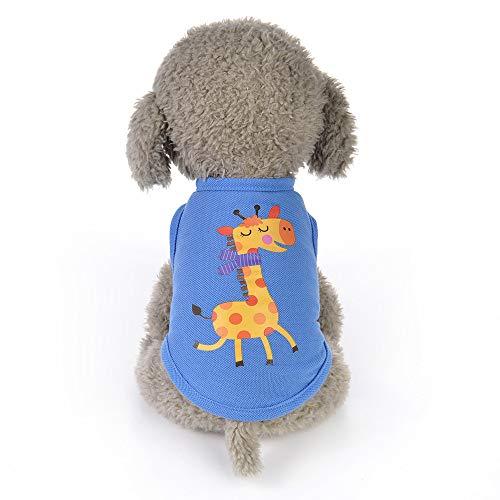 Haustier Weste,Tier-Karikatur gedruckte Weste-Hundewelpen-Kostüme-Haustier-Kleidung,Mode Sommer niedlichen Hund Haustier Weste Welpen gedruckt Baumwoll T-Shirt,Perfekt Zum Wandern,Joggen (C, S) -