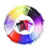 YFZYT Borse di Organza Gioielli Organza Sacchetti di Filati per Regalo di Caramelle Nozze Adatti - 100 Pezzi, 20x30 CM, Colore Casuale