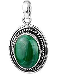 925 Sterling Silver natural Malachite gemstone Oval Pendant jewelry 5.01 g