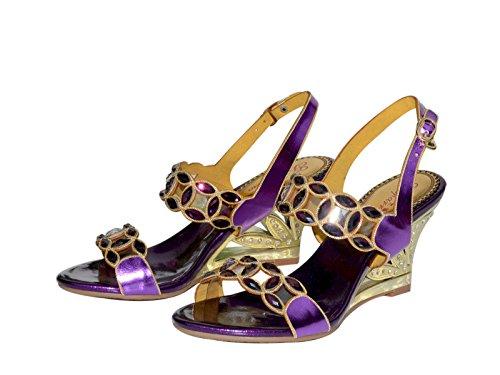 XINJING-S Frauen Luxus Strass High Heel Hochzeit Braut Party Abend Kleid Sandale Schuhe Lila