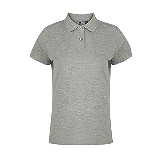 Asquith & Fox Women's Asquith & Fox Women's Polo Regular Fit Short Sleeve Polo Shirt, Grey (Heather 000), 12 (Manufacturer Size:Medium)