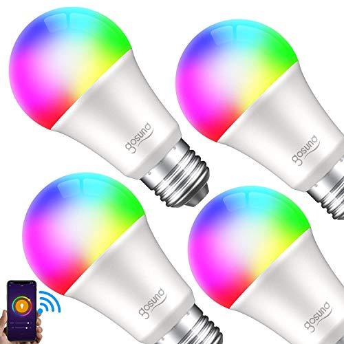 E27 Glühbirne, Gosund Alexa Lampe Wlan Mehrfarbige Dimmbare Lampe Kompatibel mit Amazon Alexa Echo, Echo Dot Google Home Kein Hub Erforderlich Smart Birne Glühbirne[Energieklasse A+] (4 packs)