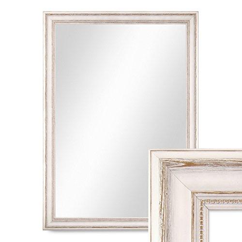 Photolini Wand-Spiegel 60x80 cm im Massivholz-Rahmen Landhaus-Stil Weiss/Spiegelfläche 50x70 cm (Spiegel Rahmen Mit)