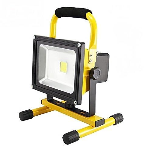 SAILUN 50W LED projecteurs Blanc Chaud Lampe à la main Rechargeable Avec Batterie, Portable Adaptateur et Chargeur de Voiture inclus, IP65 Jaune