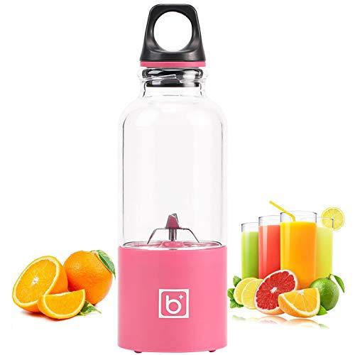 HDH Tragbare Mini Haushalts Entsafter Sojamilch Große Kapazität Fleischwolf Mixer Elektrische Saft Tasse multifunktions Entsafter Wasserkocher Kleine Wiederaufladbare Gemüsesaft (Farbe : Rosa)