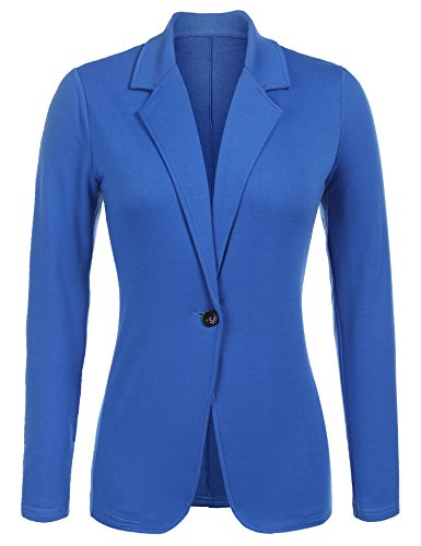 Parabler Damen Blazer Tailliert Elegant Business Jacke Anzugjacke Jersey Jäckchen Blau L (Elegant-blazer)