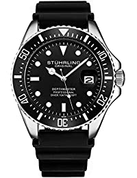 Stuhrling Original Dive Watch for Men - Pro Diving Watch - Sports Watches for Men with Screw Down Crown Water Resistant Watch 330 Ft.- Black Analog Rubber Watch, Quartz Movement (Black)